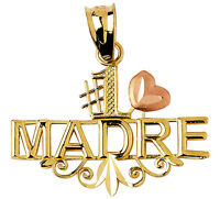 Polished 14k Two Tone Gold Number One 1 Madre Charm Pendant With Pink Heart