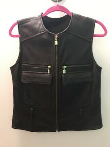 Preston And York Brown And Gold Womens Leather Vest Size Small Lamb Skin