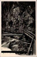 Obernach Bayern Oberbayern AK ~1940 Leutaschklamm Wasserfall Klamm Mittenwald
