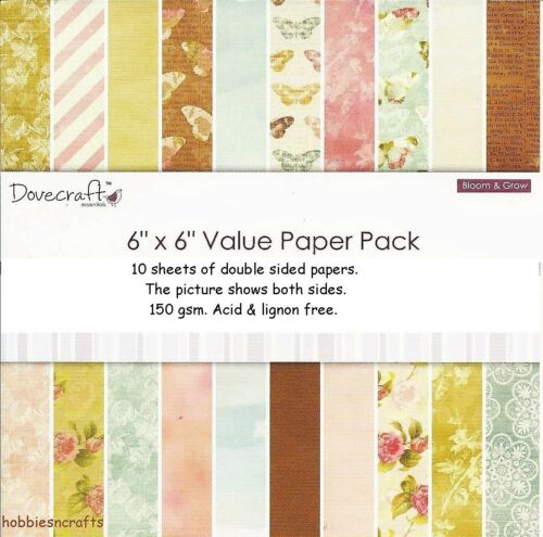 10 SHEETS DOVECRAFT  BLOOM /& GROW DOUBLE SIDED 6 X 6 SAMPLE PACK 1 OF EACH