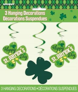 3 St Patricks Day Hanging Swirls Party Decorations Long Hanging