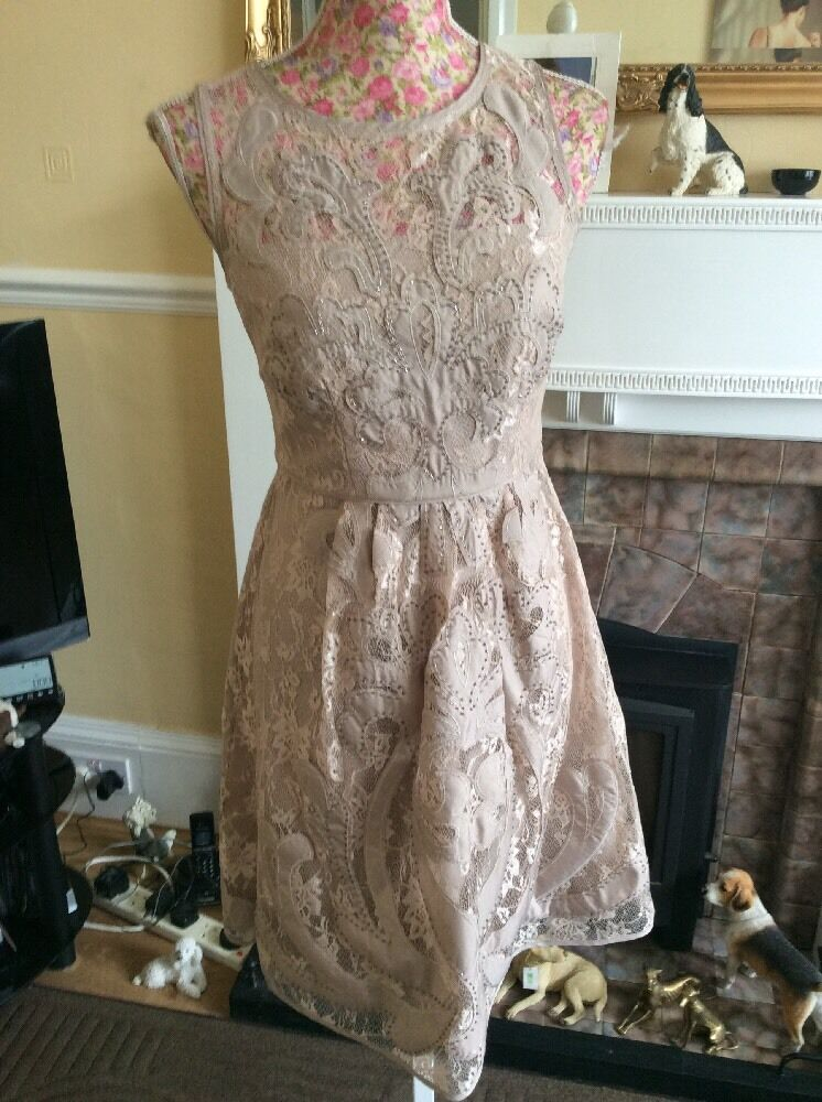 Monsoon Sarah Grace Nude Lace Dress 12 Been Dry Cleaned Hols