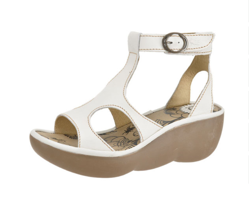 FLY LONDON BECCA WHITE LEATHER PLATFORM WEDGE T-BAR SANDALS UK 7 EUR 40
