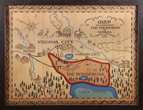 """BONANZA MAP OF THE PONDEROSA A4 GLOSS POSTER PRINT LAMINATED 10.7/""""x8.3/"""""""