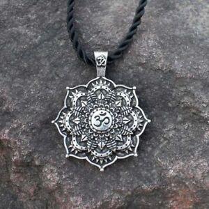 Necklace OM Mandala Pendant Silver Buddha Tibetan Buddhist Lotus Flower Braided