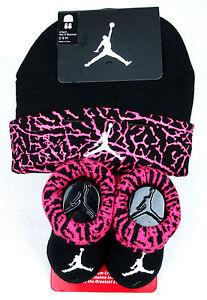 8ce22abdb2214 Nike Air Jordan Toddler Baby Infant Hat   Booties Set 0-6 Mths Black ...
