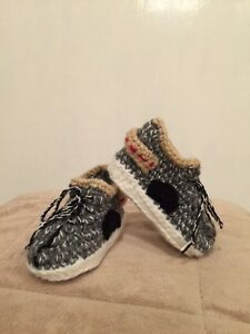 Crochet Yeezy : Hand Crochet Baby Yeezy 350 inspired Booties Shoes Grey- NEW