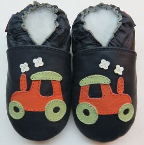 soft sole leather baby crawling shoes tractor navy 6-12 m  US 3-4 minishoezoo