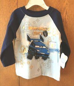 Infant-Boy-039-s-Blue-Print-LS-T-Shirt-Disney-Cars-Size-18M-New