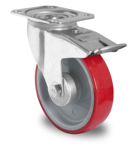 Transportgeräterolle Polyurethanbereifung 160 mm Platte Lenkrolle mit Bremse Rad