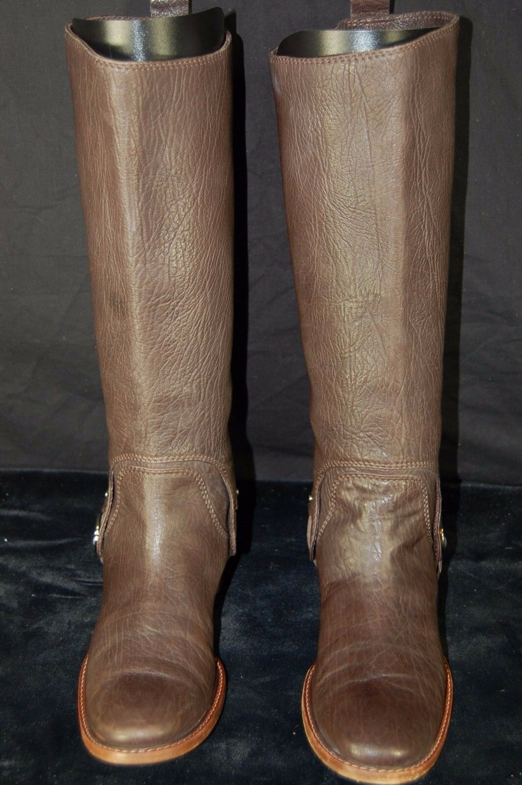 GORGEOUS       CELINE  BROWN LEATHER WOMEN BIKER   RIDING BOOTS. EU 40 US 10 5e4cca
