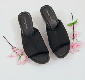 Donald-Pliner-Black-Elastic-Platform-Wedge-Sandals-US-8M
