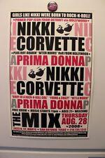 NIKKI CORVETTE + PRIMA DONNA San Antonio TX (2008) Concert Poster punk power pop