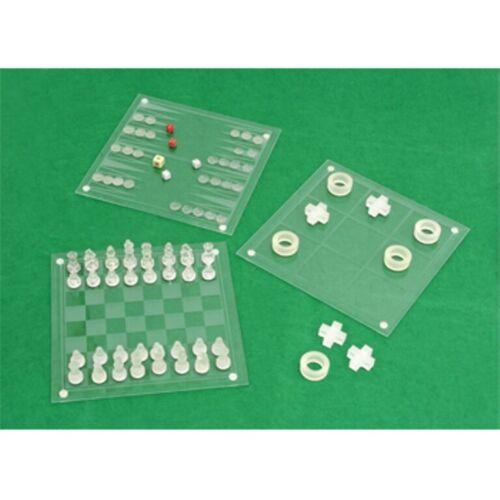 Backgammon Damas Nuevo Vidrio 4 en 1 Juego De juegos Ajedrez