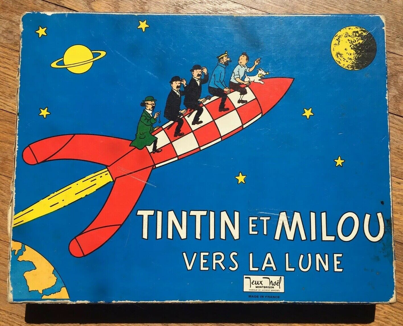 TINTIN ET MILOU Vintage French BOARD GAME Vers la Lune 1969 Jeux Noel COMPLETE