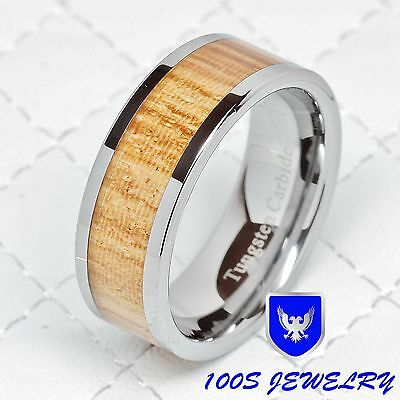 8mm Men's Tungsten Carbide Wood Inlay Wedding Band Engagement Ring Size 8-12