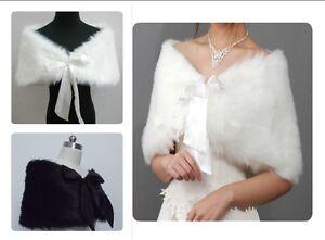 Blanc-d-039-Ivoire-Noir-fausse-fourrure-de-mariee-d-039-enveloppe-chale-Bolero-manteau