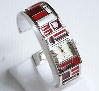 Gorgeous Avon Red Shades Of Bright Cuff Watch Silvertone Ladies Women's
