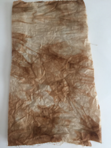 ANTIQUE FABRIC,CRAFTS,SEWING.AGED HAND DYED ORGANIC TEA STAINED COTTON FABRIC