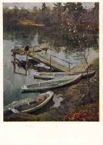 1958-RARE-Russian-postcard-THE-SUMMER-HAS-ENDED-River-Boats-Berth-by-V-Gerasimov