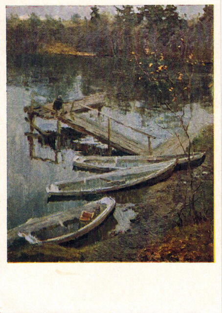 1958 RARE Russian postcard THE SUMMER HAS ENDED River Boats Berth by V.Gerasimov