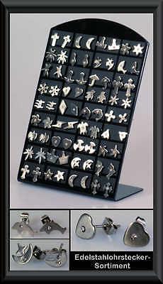 Set 36 Paar Edelstahl-Ohrstecker-Display Restposten Ohrringe Ohrring Schmuck