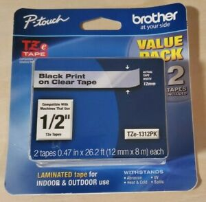 """2PK Brother Genuine P-touch TZE-1312PK Tape 1/2"""" (0.47"""") Black Print/Clear Tape"""