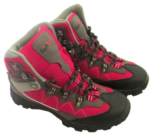HIKING RED//GREY WALKING BOOTS waterproof camping trail shoes KHAKI//ORANGE