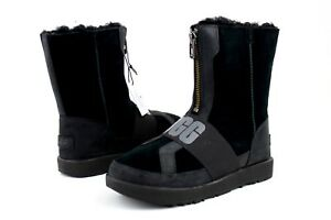 a4fdae98b92 UGG CONNESS LOGO SUEDE LEATHER WATERPROOF WOOL BLACK WOMEN'S BOOTS ...