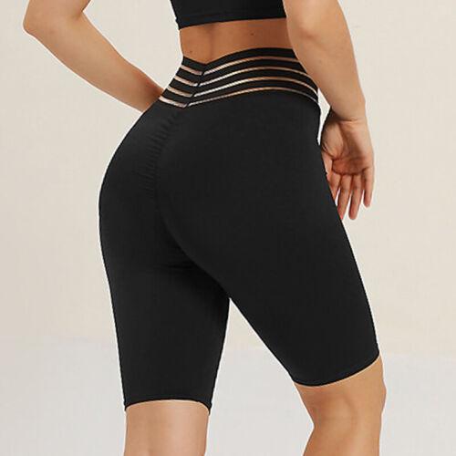 Womens Sports Shorts Basic High Waist Yoga Leggings Stretch GYM Workout Pants D5