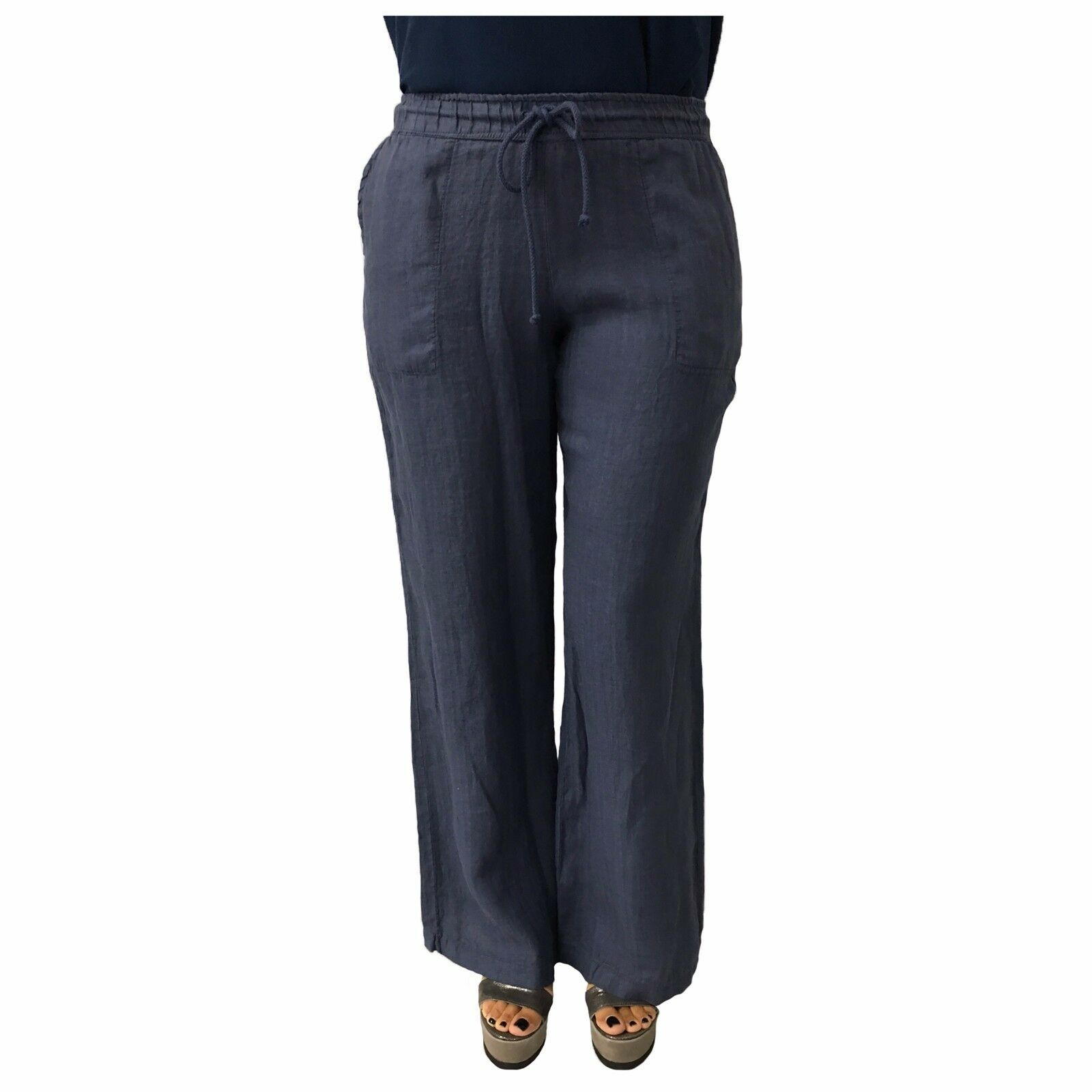 The fee maraboutee Woman Pants Tie Farbe Denim 100% Linen Made in
