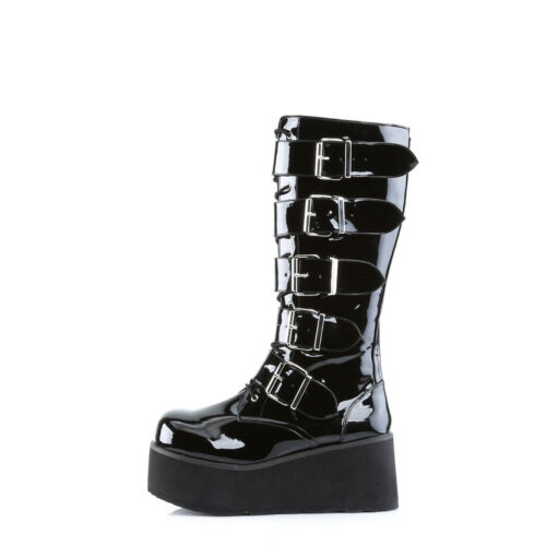 "TRASHVILLE-518  BIKER PUNK GOTH LACE UP KNEE HIGH WEDGE PLATFORM BOOT /""UNISEX/"""