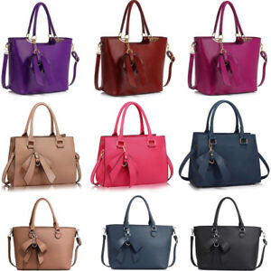 a0982962aeb1 LeahWard Women s Designer Bow Bags Large School Bag Tote Handbags A4 ...