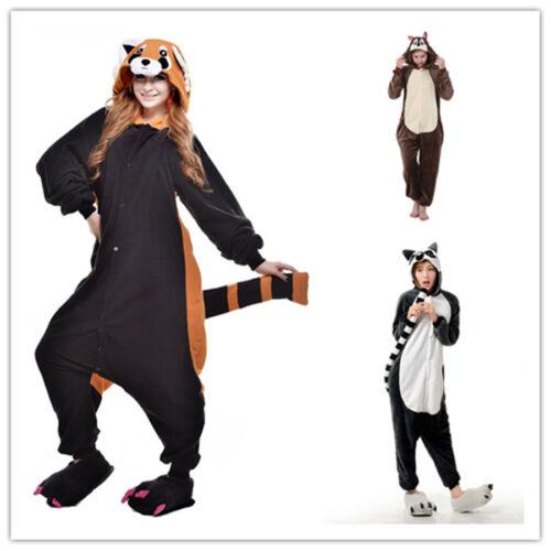 Squirrel Raccoon Lemur Onesiee Kigurumi Fancy Dress Costume Hoodies Pyjamas Gift