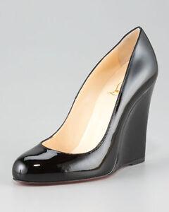grand choix de 6a5f2 f8d8e Détails sur Neuf Christian Louboutin Ron Zeppa 100 Talon Compensé Noir  Verni Chaussures 38