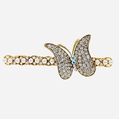 USA Pearl Magnet Hair Clip Hairpin  Rhinestone Crystal Barrette Elegant Gold #3