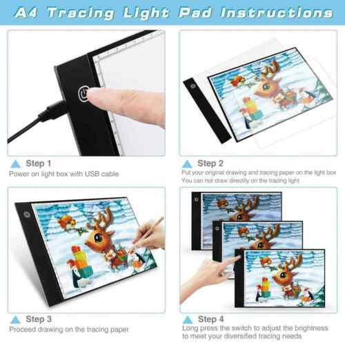 LED Drawing Board Light Box Slim Tracing Pad Copy Tattoo Art Craft Stencil A4 A3