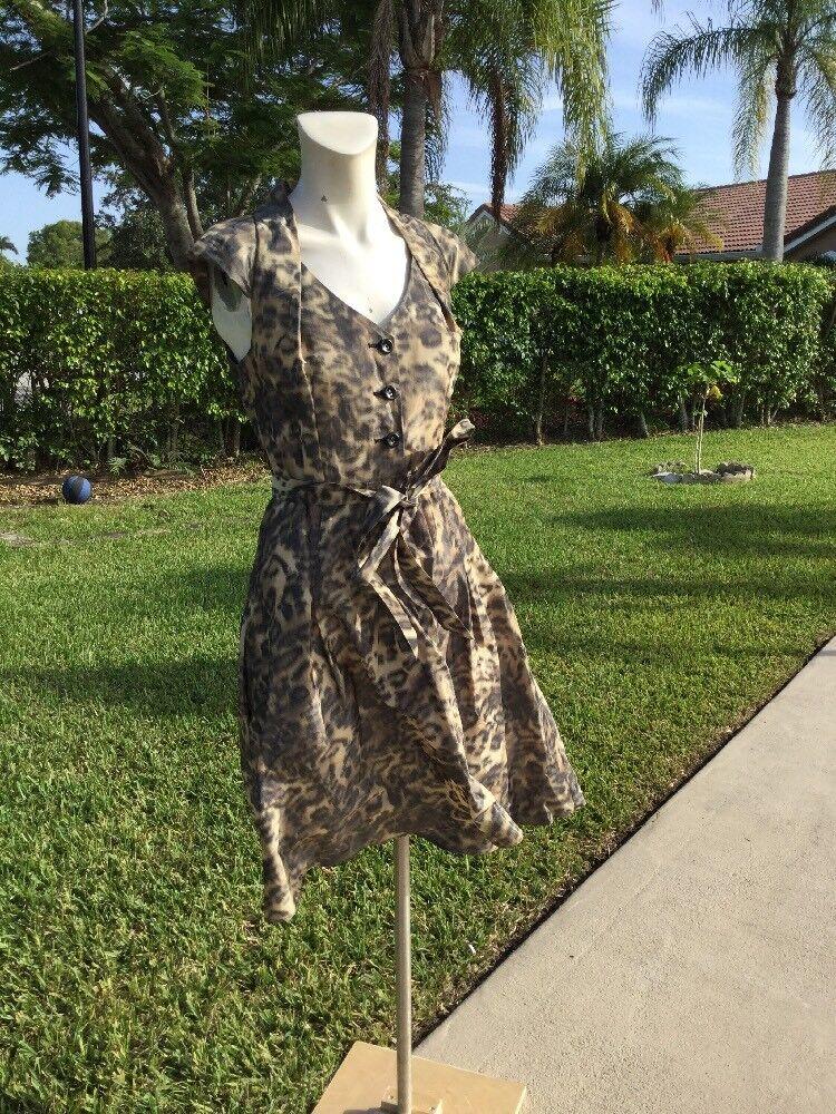 Gwen Stefani L.A.M.B. Leopard Print Cap Sleeve Dress Sz 4 Spring 08' Collection