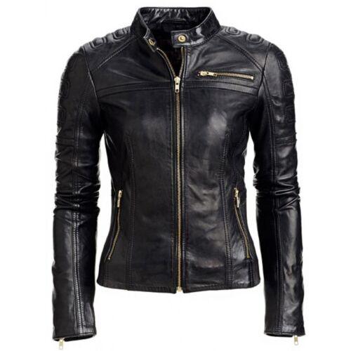 Black Women/'s Slim Fit Biker Style Real Leather Jacket