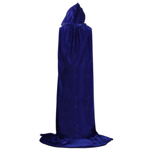 New Velvet Hooded Cloak Medieval Pagan Witch Vampire Cape Halloween Fancy Dress