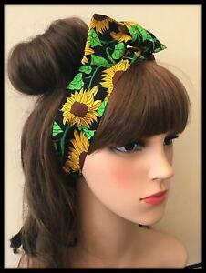 Vintage-Floral-Fabric-Sunflowers-Headband-Bandana-Hairband-Hair-Tie-Band-Scarf