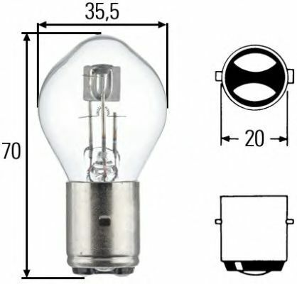 3 Units Hella Bulb S2 35//35 W BA 20 D 82023 8GD002084-131 2084131