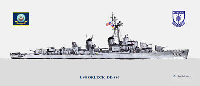USN Navy Ship Print US Naval Destroyer USS ORLECK DD 886