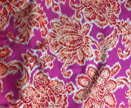 Pink /& Orange Floral Ikat 1//3 yard remnant Cotton Lightweight Canvas Fabric