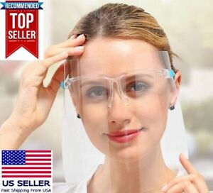 Face-Shield-Mask-Safety-Protection-With-Glasses-Reusable-Anti-Fog-USA-SELLER