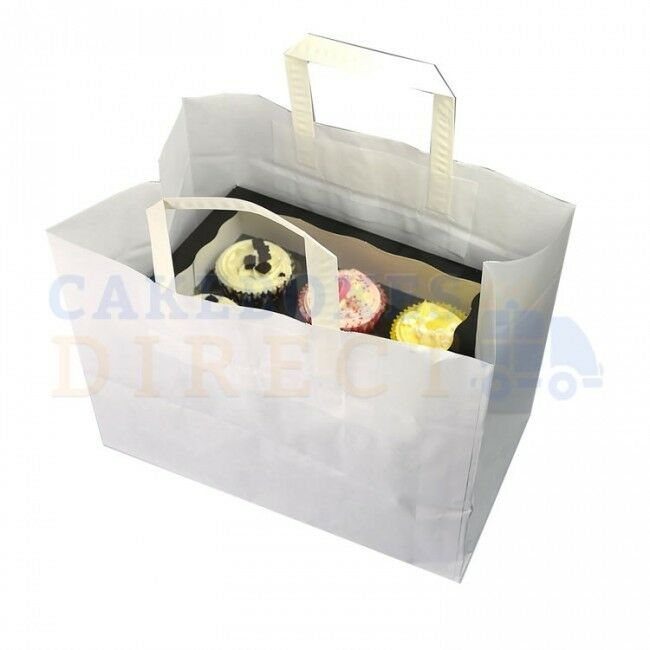 250 X CUPCAKE CARRIER BAG (6) 317 x 183 x 245 mm FREE NEXT DAY DELIVERY