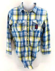 Camicia-Superdry-Da-Donna-Verde-XS-Blu-Bianco-COTONE