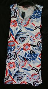 Marks-amp-Spencer-Size-14-Regular-Eur-42-Floral-Linen-Blend-Easy-Iron-Dress