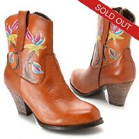 Corkys Elite Florence Handpainted Leather Floral Ankle Boots Size 9 (or 8)