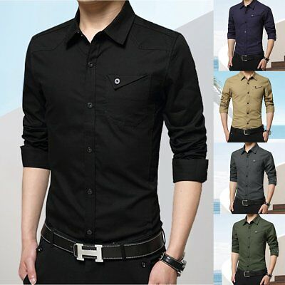 Mens Slim Fit Long Sleeve Shirt Casual Button Business Dress Shirt Plus  Size | eBay
